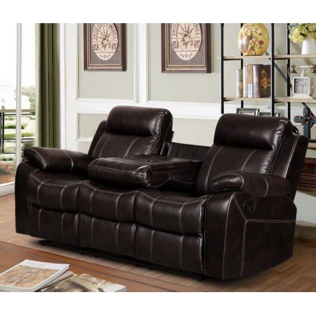 Vivienne Dark Brown Leather Air Reclining Sofa with Tea Table by Vivienne (Image #1)
