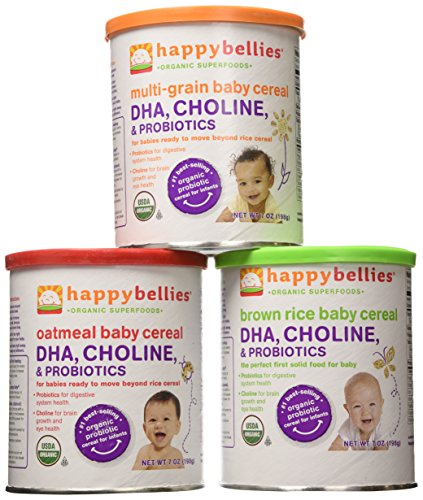 Happy Bellies Organic Super Cereals, DHA, Multi 3-Pack (1 each Brown Rice, Oatmeal, Multigrain 7oz)