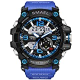 KXAITO Men's Sports Outdoor Waterproof Military Watch Date Multi Function Tactics LED Alarm Stopwatch (05_BandBlue)