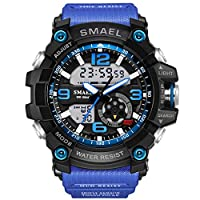 KXAITO Men's Sports Outdoor Waterproof Military Watch Date Multi Function Tactics LED Alarm Stopwatch (Blue_window1)