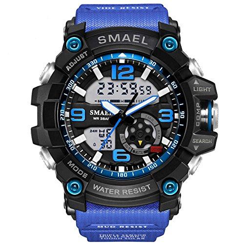 KXAITO Mens Sports Outdoor Waterproof Military Watch Date Multi Function Tactics LED Alarm Stopwatch (05_BandBlue)