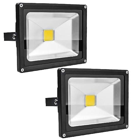 Leetop 2X 20W 30W 10W Negro Blanco Cálido Foco Proyector LED ...