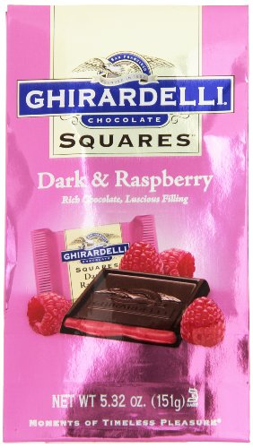 Ghirardelli Dark and Raspberry Squares Stand Up Bag, 5.32 Ounce
