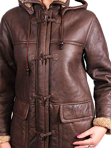 Leather Real Piel De Oveja Duffle Brandslock Woman Brown Coat 5YxOqwfY
