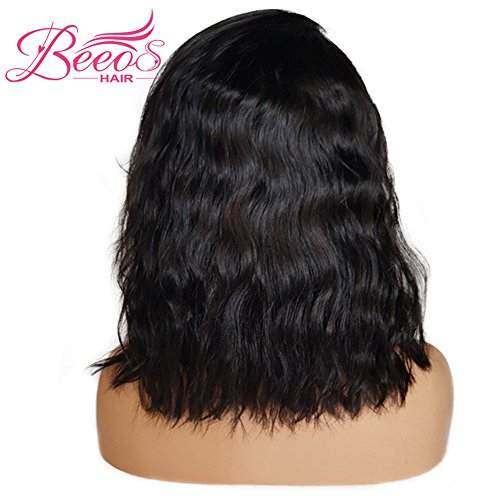 BEEOS Hair Brazilian Virgin Human Hair Lace Front Wigs Glueless Short Bob Human Hair Wigs Wavy With Baby Hair For Black Women 14inch Short Wavy Lace Wigs On Sale by BEEOS (Image #4)