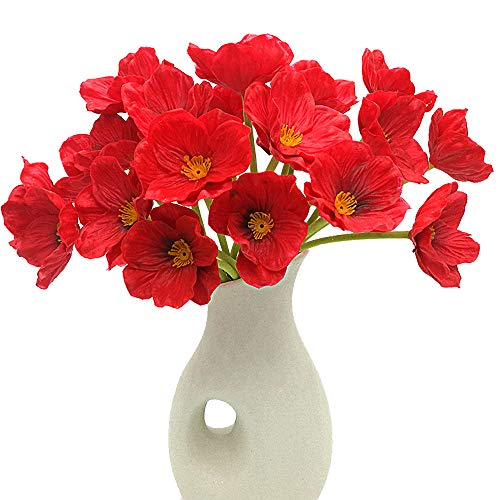 Grunyia Artificial Flowers Fake Poppies Flower Decoration Home Office Cafe Wedding Holiday Bridal Bouquet Gift(10 - Red Flowers Bright
