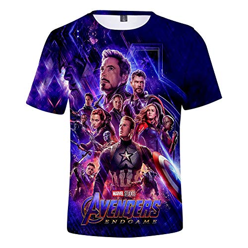 Superhero Youth T-shirt - 3D Avengers Endgame Shirt Sports Suit Fitness T Shirt Casual Short Sleeves Shirts for Mens and Youth (B, S)