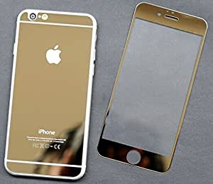 """Premium 0.3mm Mirror Color Tempered Glass Screen Protector Guard for Iphone 6 4.7"""" Front +Back (Golden)"""