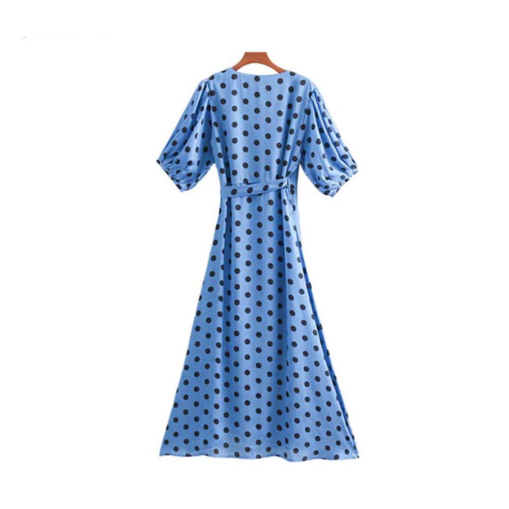 Women Dots Print Wrap Dress Cross V Neck Lantern Sleeve ...