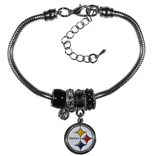 Steelers Womens Pittsburgh Accessories - Siskiyou NFL Pittsburgh Steelers Womens Euro Bead Bracelet, Metal, 7.5