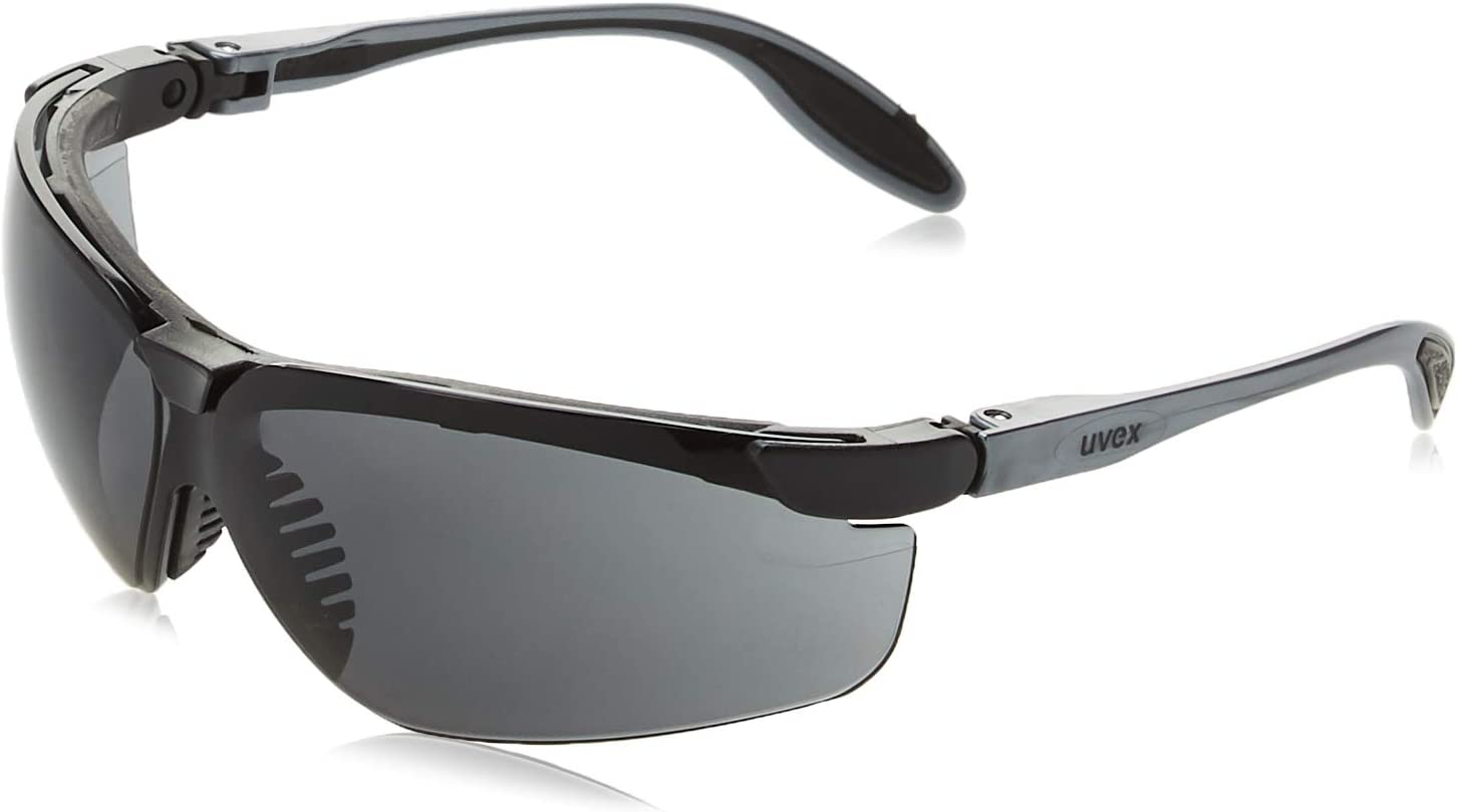 Uvex S3704 Genesis Slim Safety Eyewear, Pewter and Black Frame, Dark Gray Ultra-Dura Hardcoat Lens