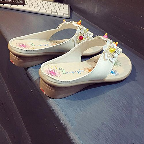 Slippers HAIZHEN Women shoes Women's Spring Summer Sandals/Comfort PU Low Heel White Blue Yellow for Women (Color : White, Size : EU39/UK6.5/CN40) White
