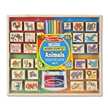 Melissa & Doug 2394 Deluxe Wooden Stamp Set for Animals - Multi Color44; 38 Piece