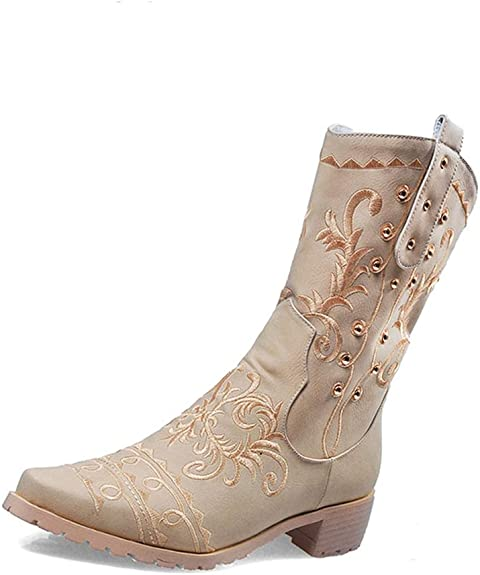 Hoxekle Women Mid Calf Boot Winter Fashion Flower Printing Decign Square Low Heel Chunky Party Casual Boots