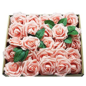 En Ge 50pcs Artificial Flowers White Roses Real Looking Fake Roses Flowers with Stem for DIY Wedding Bouquets Centerpieces Arrangements Party HomeYard Halloween Decorations 35