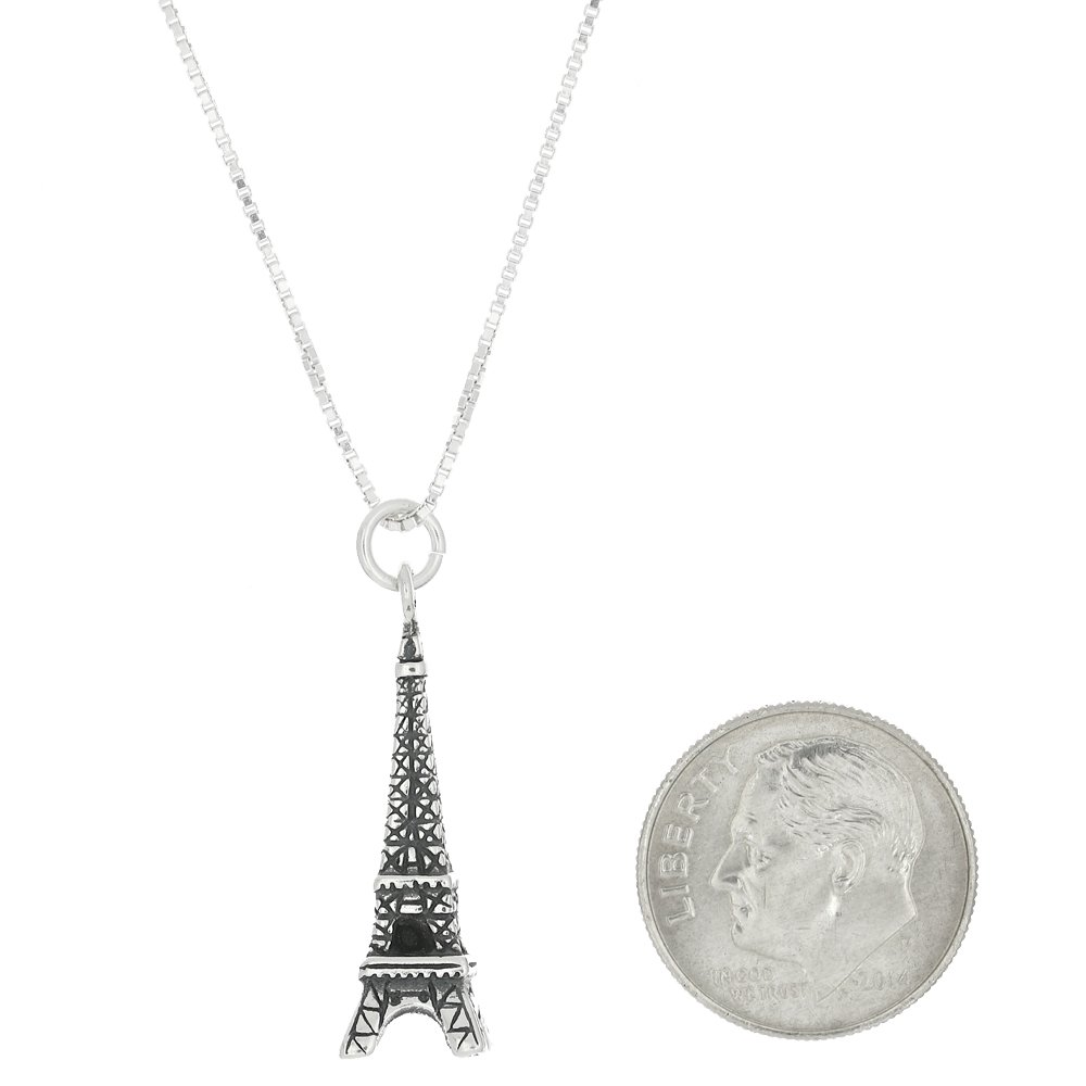 Sterling Silver Oxidized Small Paris Eiffel Tower Charm with Box Chain Necklace