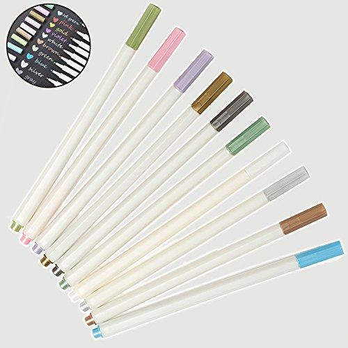 Powanfity_JP マーカーペン カラーペン アルバムペン 10色セット メタリック 手帳ページ アルバムDIY 塗り絵 水性 サインペン デコレーションに最適