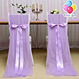 B-COOL Light Purple High Chair Skirt 2 pcs 100x63inch Long Chair Slipcovers Tutu Tulle Chair Skirt Ideal for Kitchen Dining Catering Banquet Party Wedding Bridal Shower Decor