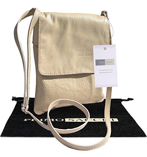 City Bag Cream - Italian Soft Leather Hand Made Smaller Version Cream Messenger Cross Body Shoulder Bag Handbag. Includes a Branded Protective Storage Bag.