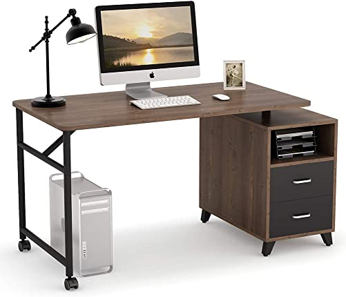 Tribesigns Computer Desk with Reversible Storage Cabinet, 360 Free Rotating Home Office Desk 47 inch Industrial Study Writing Table Computer Workstation with 2 Drawers