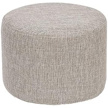 Round Ottoman Light Grey Footrest Stool Soft Plush Foot Rest Seat, Floor Pouf Washable Flannel Fabric Cover for Kids Room, Living Room, Bedroom, ...