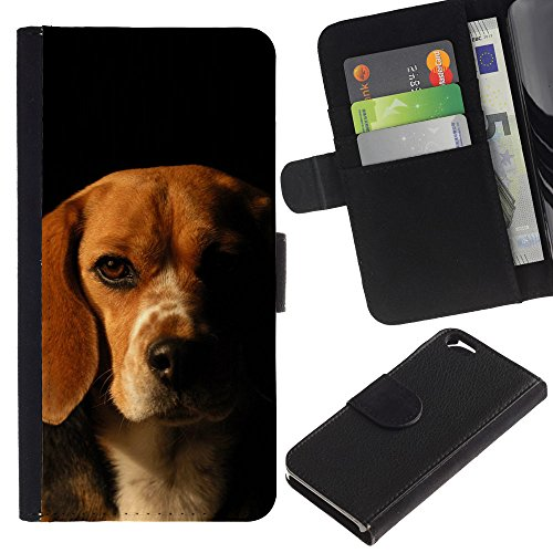 EuroCase - Apple Iphone 6 4.7 - Beagle Labrador retriever dog puppy - Cuir PU Coverture Shell Armure Coque Coq Cas Etui Housse Case Cover