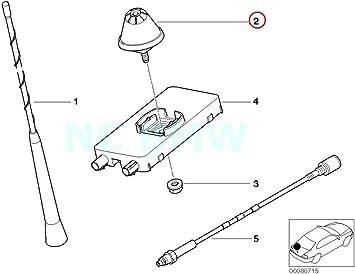 BMW auténtica corto – Antena de varilla antena cabeza: Amazon ...