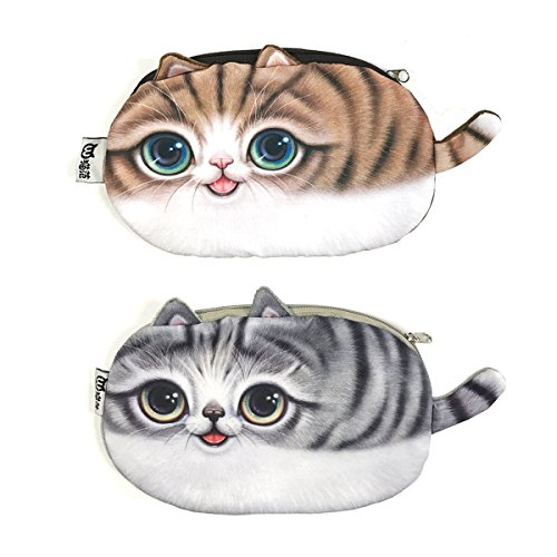 Wrapables Cat Face Cosmetic Pouch Pencil Case (Set of 2), Playful & Happy by Wrapables