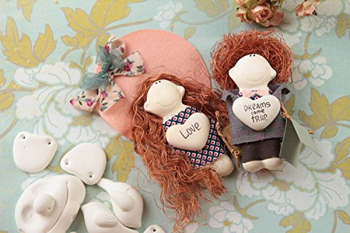 Handmade Rag Doll 2 Pieces Wall Hanging Fridge Magnet Decorative Use Only
