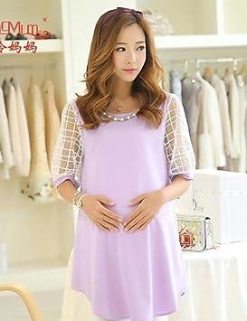 ZXR coreano moda verano grueso de lino, embarazadas Vestido de Gasa de Manga Corta Vestido