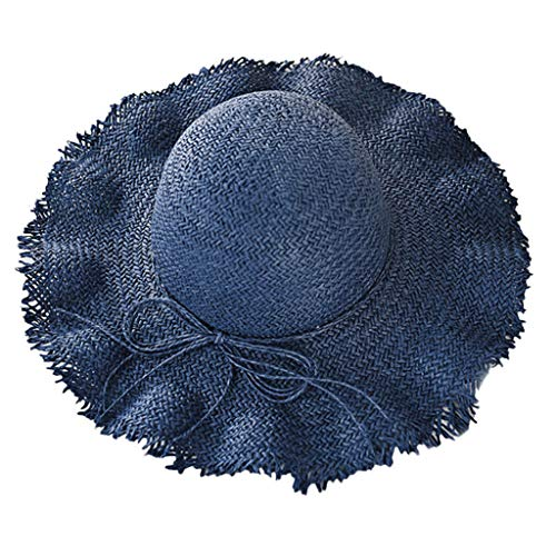 Beach Sun Hats for Women,Sun Straw Hat Wide Brim Summer Hat Foldable Roll up Floppy Beach Hats for Women Yamally Navy