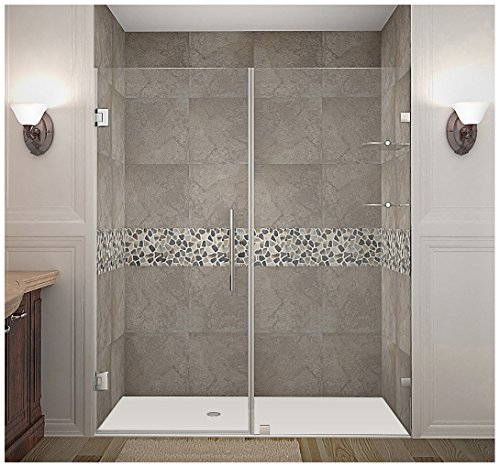 "Aston Nautis GS Completely Frameless Hinged Shower Door with Glass Shelves, 67"" x 72"", Brushed Stainless Steel"