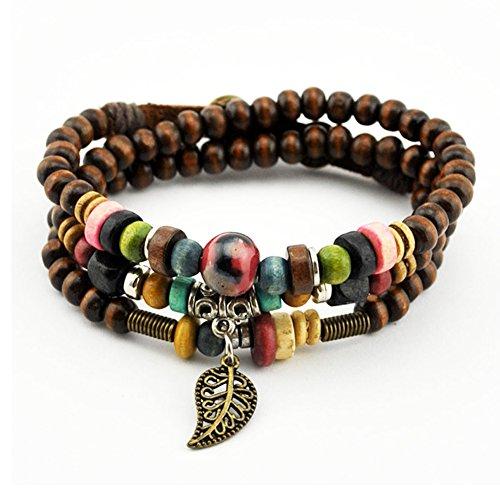Bluegrass Vintage Leaf Pendant Tibeten Color of Strand Wooden Beads Handmade Bracelet Necklace (Studded Wristband Single)