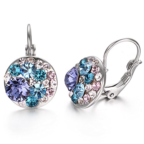 Yoursfs Leverback Earrings For Women Fashion Colorful Austrian Crystals Ball 18k White Gold Plated Drop Earrings