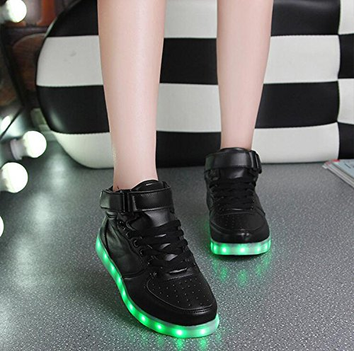 Gaorui New Women LED Light Luminous Sneaker High Top Lovers Athletic Shoes USB Charge Silver SfKtF3L3UR