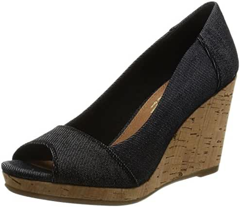 Toms Women's Black Denim Stella Peep-Toe 10009763
