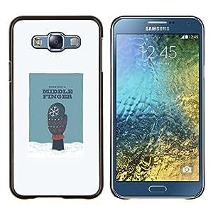 "Be-Star Único Patrón Plástico Duro Fundas Cover Cubre Hard Case Cover Para Samsung Galaxy E7 / SM-E700 ( Dedo Medio Arte Nieve Humor Minnesota Guante"" )"
