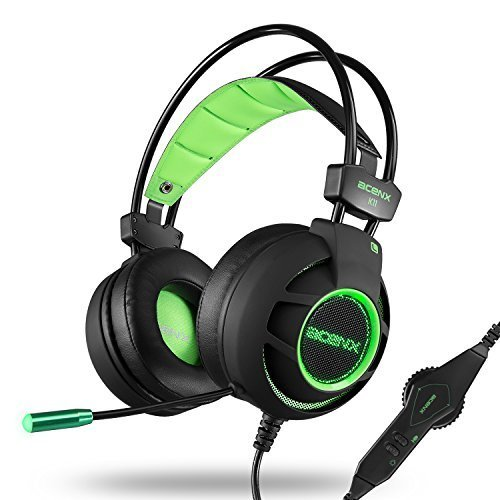 Acenx Surround Sound USB Wired Gaming Headset Stereo Headphones with Microphone Noise Cancelling Volume Control Over-Ear LED Light for Xbox One/PS4/PC/Laptop/Tablet/iPhone