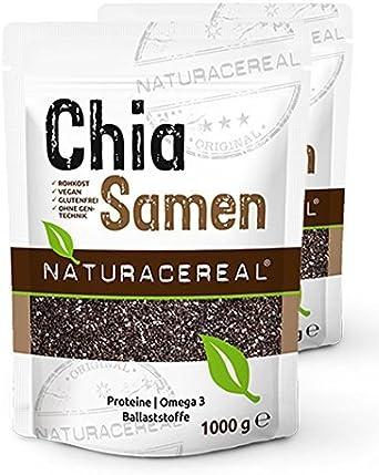Semillas de Chia de Calidad Premium 2000g NATURACEREAL | Alto contenido de proteínas, fibras & omega3 | Apto para veganos |: Amazon.es: Alimentación y bebidas