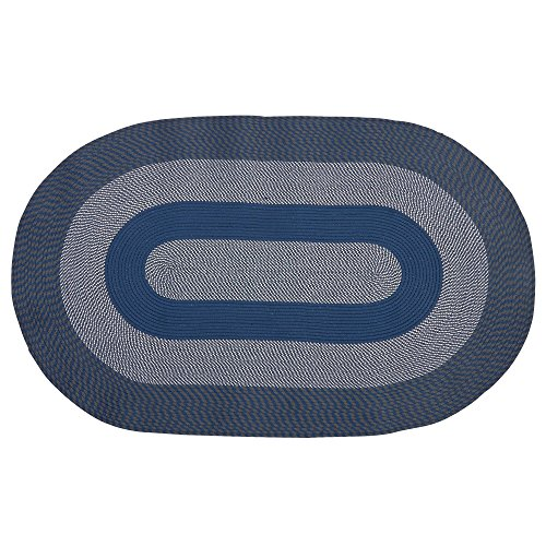 Arbor Gate Indoor Outdoor Braided All Weather Oval Area Rug (Blue, 28