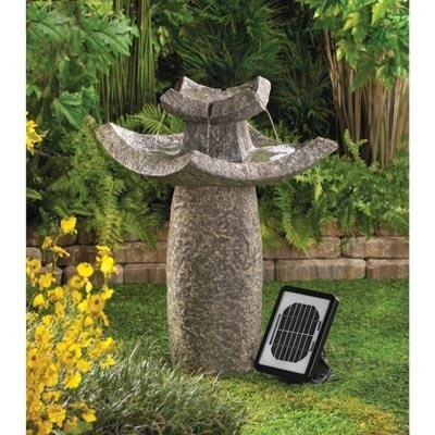Outdoor Backyard Garden Asian Temple Solar Water Fountain, Dual Powered, Solar Panel Included