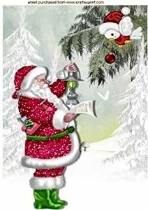 Santa y poco robin en escena de la nieve A4por Nick Bowley