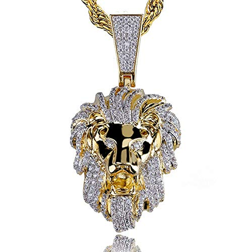 - AOVR Hip Hop Cuban Link Chain 14k Gold Silver Plated CZ Crystal Fully Iced-Out Crown Lion Pendant (Lion Head)