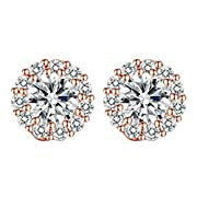 Amazon Lightning Deal 63% claimed: Presentski Cubic Zirconia Rose Gold Plated Round Stud Earrings for Women Girls