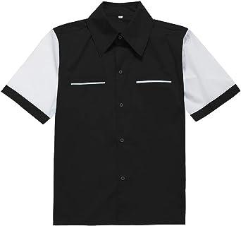 Candow Look Camisa de Hombre inspiracion Retro 50s Rockabilly Shirts Black&White: Amazon.es: Ropa y accesorios