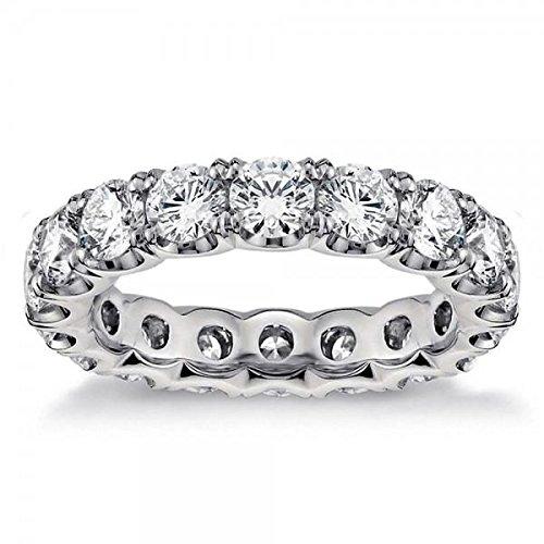 (VIP Jewelry Art 3.80 CT TW Round Diamond U-Shape Eternity Anniversary Band in Split Prong Setting in Platinum - Size 12)