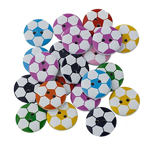 (SODIAL 100Pcs Round Shaped Soccer Painted 2 Hole Wooden Sewing Buttons for)