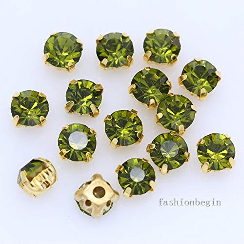 Calvas 50p ss45 10mm Round Sew On Crystal Glass Flatback 4 Hole Rhinestones Jewels Montees Gold Plate Claw Beads Craft Gems Multi-Color - (Color: Olivine)