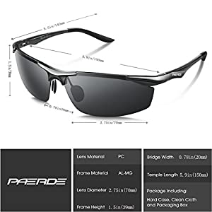 PAERDE Men's Sports Style Polarized Sunglasses for Men Driving Fishing Cycling Golf Running Al-Mg Metal Frame Ultra Light Glasses (Black)