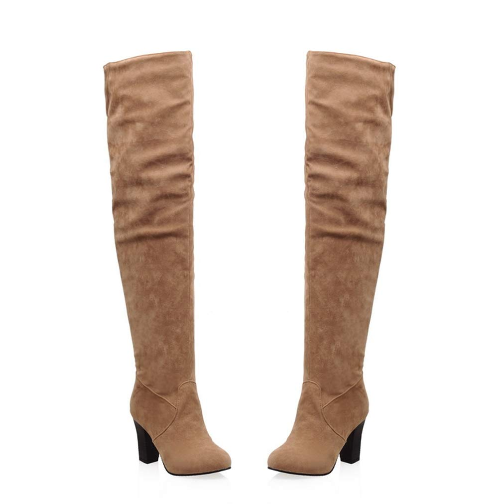 Women's Tan Faux Suede Over the Knee Round Toe High Block Heel Pirate Boots - DeluxeAdultCostumes.com